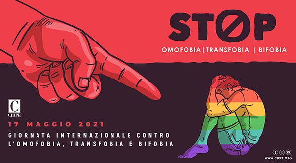 Immagine di denuncia in occasione della giornata internazionale contro l'omofobia, transfobia e biofobia. Nell'immagine: una mano che indica in maniera colpevole un ragazzo (colorato con i colori dell'arcobaleno rappresentativi della comunità LGBTIQ+