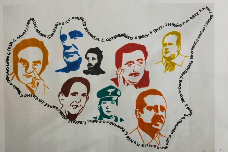 disegno realizzato dall'allievo del cirpe che rappresenta la sicilia con i volti di tutte le persone che hanno contrastato la mafia